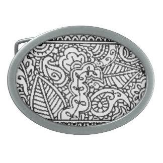 ペイズリーの情熱-黒(Henna) 卵形バックル