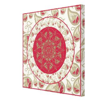 ペイズリーの曼荼羅パターン背景の赤い灰色白 キャンバスプリント