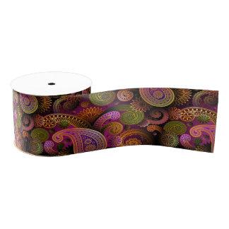 ペイズリーの紫色 グログランリボン