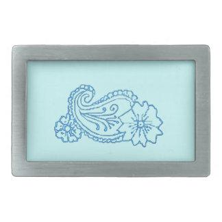 ペイズリーの花(青い) 長方形ベルトバックル