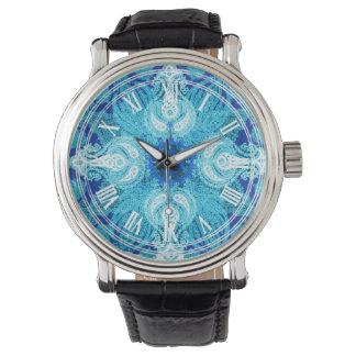 ペイズリーの車輪の青い水のヒマワリ 腕時計