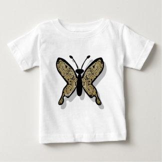 ペイズリーの金ゴールドの蝶 ベビーTシャツ