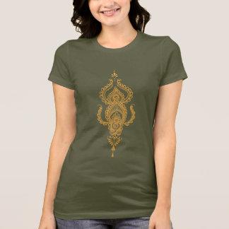 ペイズリーの(オレンジ)茶色のTシャツ Tシャツ