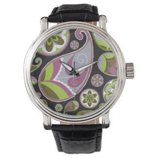 ペイズリーパターン紫色の緑 腕時計