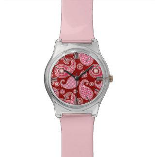 ペイズリーパターン、えんじ色、ピンクおよび白 腕時計