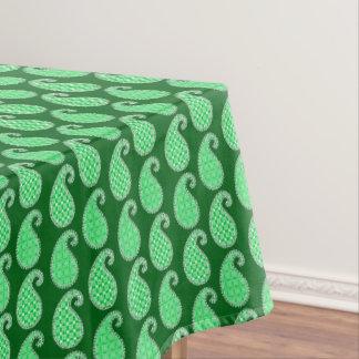 ペイズリーパターン、エメラルドグリーンおよび白 テーブルクロス