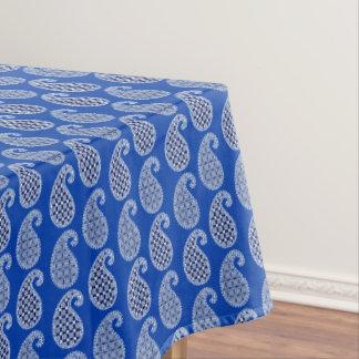 ペイズリーパターン、コバルトブルーおよび白 テーブルクロス
