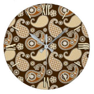 ペイズリーパターン、チョコレート色およびタン ラージ壁時計