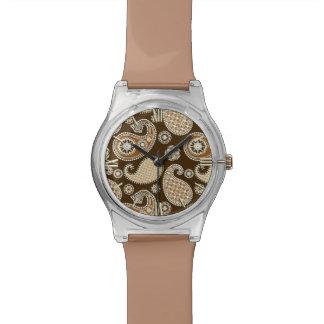 ペイズリーパターン、チョコレート色およびタン 腕時計