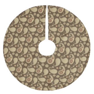 ペイズリーパターン、チョコレート色の柔らかい金ゴールド ブラッシュドポリエステルツリースカート