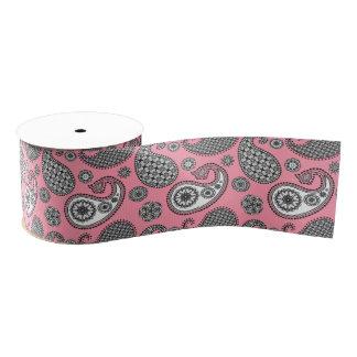 ペイズリーパターン、ピンクの灰色の色合い グログランリボン