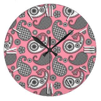 ペイズリーパターン、ピンクの灰色の色合い ラージ壁時計