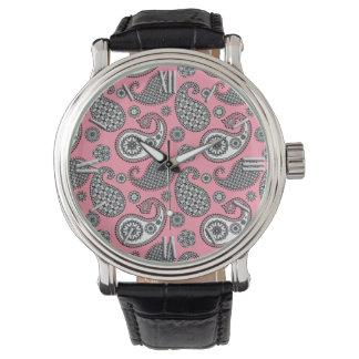 ペイズリーパターン、ピンクの灰色の色合い 腕時計