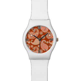 ペイズリーパターン、マンダリンオレンジおよび白 腕時計