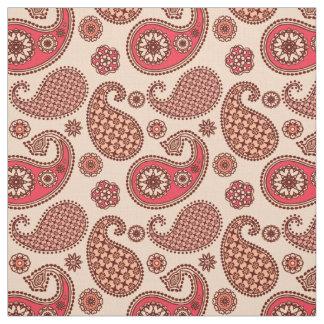 ペイズリーパターン、モモおよび珊瑚のピンク ファブリック