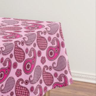 ペイズリーパターン、濃いピンクへのライトの陰 テーブルクロス
