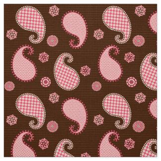 ペイズリーパターン、珊瑚のピンクおよびチョコレート色 ファブリック