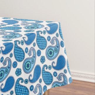 ペイズリーパターン、白の青の色合い テーブルクロス