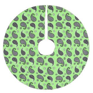 ペイズリーパターン、白黒ライムグリーン ブラッシュドポリエステルツリースカート