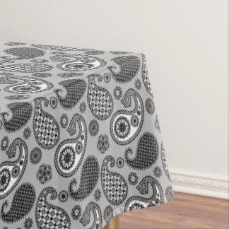 ペイズリーパターン、白黒灰色の色合い テーブルクロス