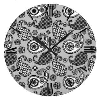 ペイズリーパターン、白黒灰色の色合い ラージ壁時計
