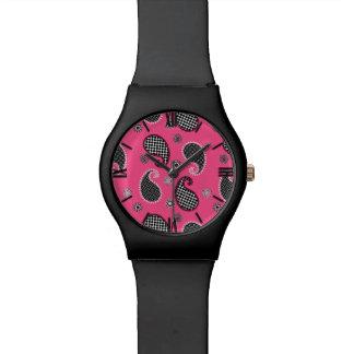 ペイズリーパターン、白黒赤紫のピンク 腕時計