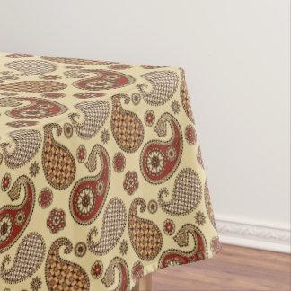 ペイズリーパターン、茶色、日焼けおよびベージュ色 テーブルクロス
