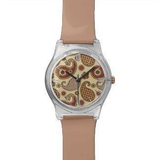 ペイズリーパターン、茶色、日焼けおよびベージュ色 腕時計