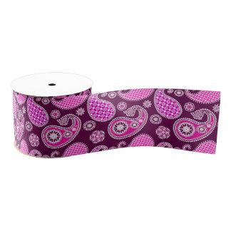 ペイズリーパターン、赤紫のピンク、紫色および白 グログランリボン