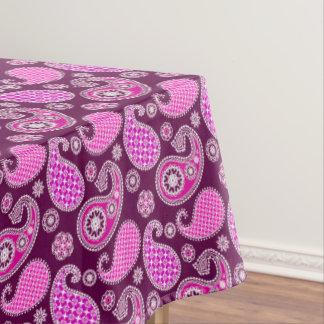 ペイズリーパターン、赤紫のピンク、紫色および白 テーブルクロス