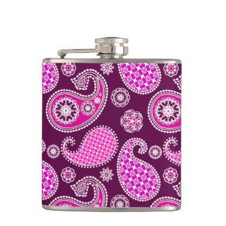 ペイズリーパターン、赤紫のピンク、紫色および白 フラスク