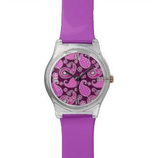 ペイズリーパターン、赤紫のピンク、紫色および白 腕時計