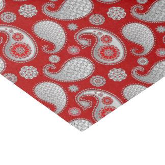ペイズリーパターン、銀製灰色/深紅の灰色 薄葉紙
