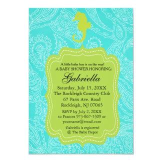 ペイズリー模様ので青いタツノオトシゴのベビーシャワーの招待状 カード