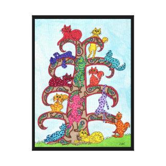 ペイズリー猫の生命の樹 キャンバスプリント