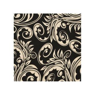 ペイズリー花パターン渦巻の白黒 ウッドウォールアート