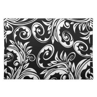 ペイズリー花パターン渦巻の白黒 ランチョンマット