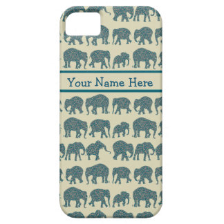 ペイズリー象の列、ベージュ色、iPhone 5/5sの場合 iPhone SE/5/5s ケース