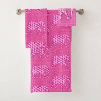 ペイズリー象は、ピンクおよび明るい赤紫色を凍らします バスタオルセット