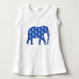 ペイズリー象-コバルトブルーおよび白 ドレス