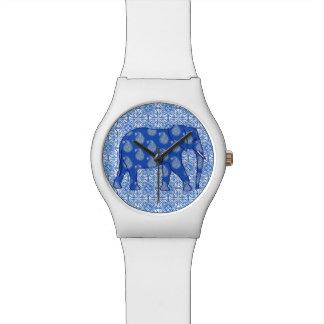 ペイズリー象-コバルトブルーおよび白 腕時計