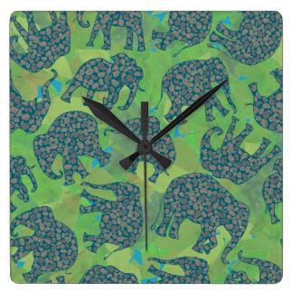 ペイズリー象、ジャングルの緑は柱時計を去ります スクエア壁時計