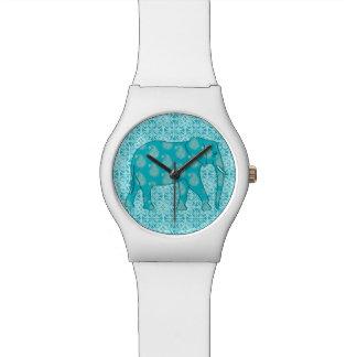 ペイズリー象-ターコイズおよび水 腕時計