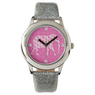 ペイズリー象-氷のピンクおよび明るい赤紫色 腕時計