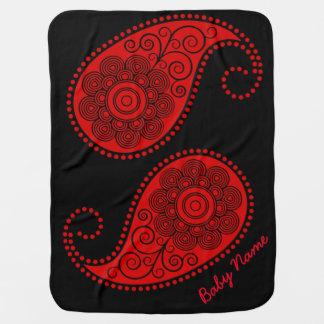 ペイズリー-個人化して下さい赤く、黒 ベビー ブランケット