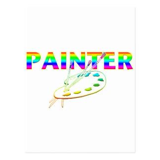 ペインターのパレットおよび絵筆 ポストカード