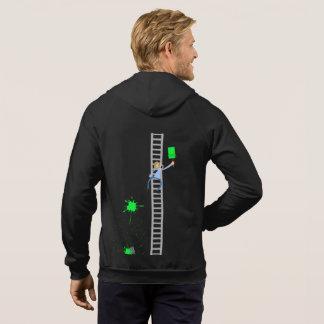 ペインターの緑の(ばちゃばちゃ)跳ねるのフリースのジッパーのフード付きスウェットシャツ パーカ