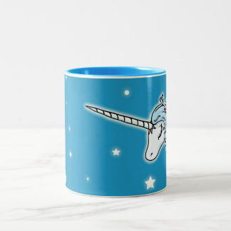 ペガソスの青および白いユニコーン ツートーンマグカップ