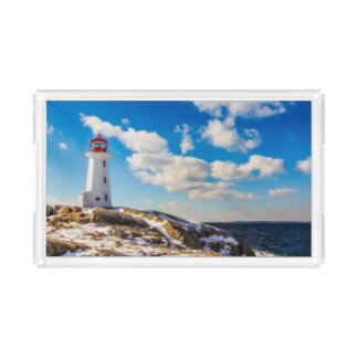 ペギーの入江、ノバスコシアの灯台|冬 アクリルトレー