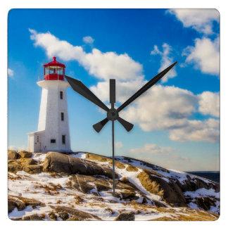 ペギーの入江、ノバスコシアの灯台 冬 スクエア壁時計